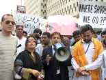 MPA Munawar Lal, Amar Lal and Mangla Sharma among others were present at the protest held regarding the forceful conversion of Rinkle Kumari from Hinduism to Islam outside Karachi Press Club on 4th march 2012. PHOTO: AYESHA MIR/EXPRESS TRIBUNE.