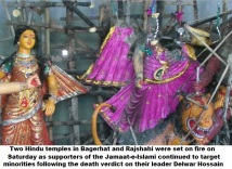 Hindu temples in Bagerhat and Rajshahi were set on fire
