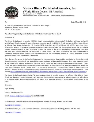 Vishwa Hindu Parishad of America Requests Governor of West Bengal to Ensure Safety and Immediate Release of Hindu Samhati Volunteers