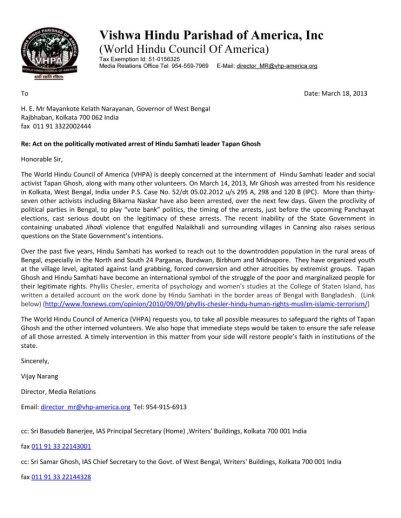 Vishwa Hindu Parishad of America Requests Governor of West Bengal to Ensure Safety and Immediate Release of Hindu Samhati Volunteers
