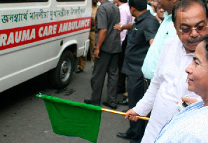 Opening of Ambulances by Mamata Banerjee, Chief Minister, W.B. and Sovan Chatterjee, Mayor of Kolkata. Good days of Saradha with TMC.
