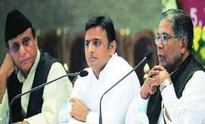 UP Cabinet minister Azam Khan (Deptt. of Minority Welfare), UP CM Akhilesh Yadav and Union Minority Affairs Minister K Rehman Khan, in Lucknow on Tuesday. Photo: Vishal Srivastav.