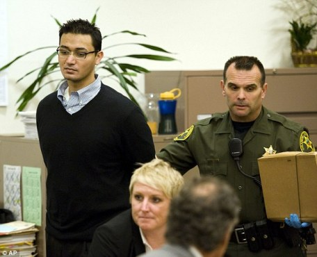 Murderer: Iftekhar Murtaza is brought into Orange County Superior Court Friday to hear the guilty verdict
