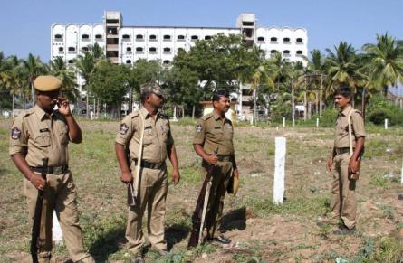 WHY ANDHRA POLICE GUARDING ILLEGAL ISLAMIC UNIVERSITY? - Hindu Existence. Security personnel deployed at the Heera Islamic University campus at Thondavada on Friday. Photo: K.V. Poornachandra Kumar. Photo Courtesy: The Hindu.