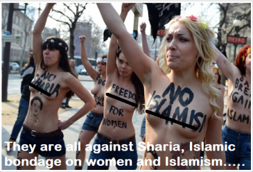Nude Protest against Sharia, Islam and Rights Violation is increasing in Europe and America.