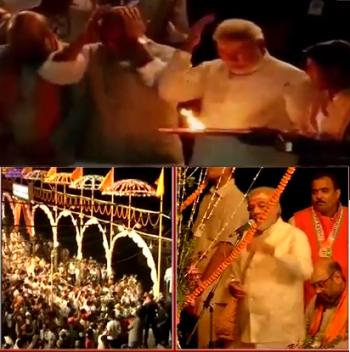 Narendra Modi attemding Ganga Aarti at Dashashwamedh Ghat.