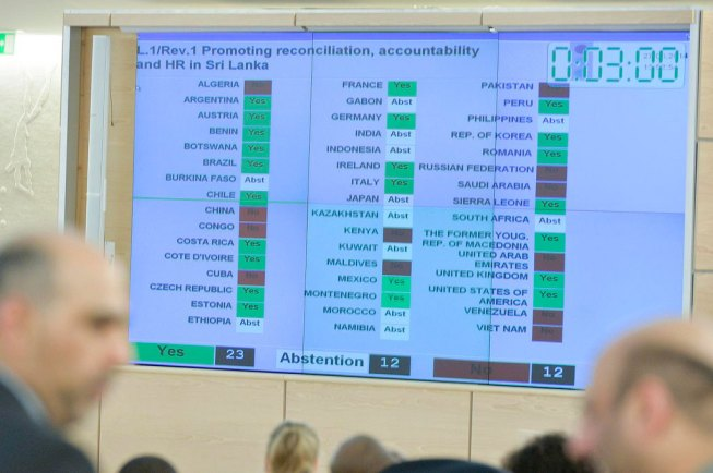 Human Rights Council adopts resolution approving inquiry into alleged abuses in Sri Lanka war. UN Photo/Jean-Marc Ferré