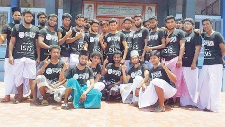 Fanatical Muslim youths sporting 'ISIS' T-shirts pose near a mosque in Ramanathapuram. The photo was reportedly posted on the web from an overseas location.