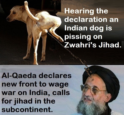 An Indian Dog Pissing on Zawahri Jihad.