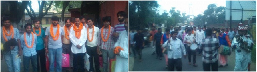 Goraksha Karyakartas released from Asansol Jial on 23.10.2014 and greeted by Hindu People.
