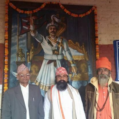 Dirgha Raj Prasai (L), Upananda Brahmachari (M) and Guru Balabhadranath  (R). Pic. Shishir Tiwari.
