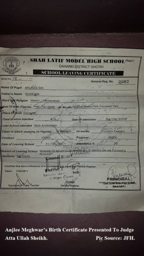 Anjlee Meghwar School Certiicate