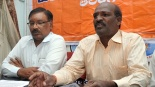 Hindu Vahini Telangana state president Uppala Raju (right) and Hyderabad unit head Prabhakar Reddy speaking at a press conference in Hyderabad on Friday | Pic. A RADHAKRISHNA, NIE.