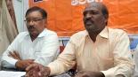 Hindu Vahini Telangana state president Uppala Raju (right) and Hyderabad unit head Prabhakar Reddy speaking at a press conference in Hyderabad on Friday | Pic. A RADHAKRISHNA, NIE.