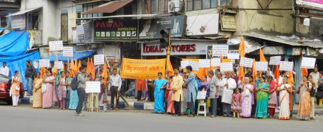 Devout Hindus participating in demonstrations at Pune against illegal Christian Conversion under Rashtriya Hindu Andolan.