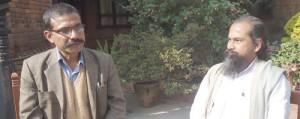 Upananda Brahmachari with Yogendra Pratap Shahi in Temple House, Kathmandu.
