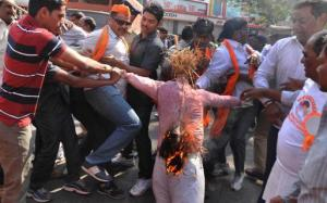 Bajrang Dal activists burn an effigy during a protest against the Valentine's Day in Hyderabad on Saturday. Photo: G.Ramakrishna, HT.