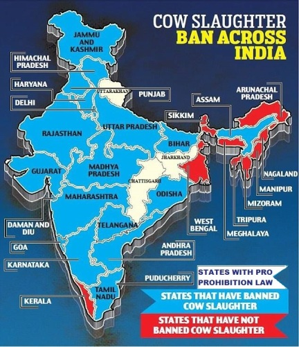In most of the Indian states there is prohibition of Cow Slaughter. But, it is not implemented yet for the only cause of 'Muslim appeasement'.