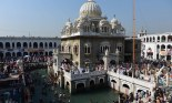 In this photograph taken on April 14, 2015, Pakistani and Indian Sikh devotees gather at the Gurdwara Panja Sahib during the annual Baisakhi festival in Hasanabdal. — AFP