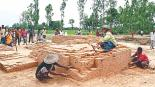 The relics of an 1100-year-old Hindu temple at Maherpur village in Bochaganj upazila, Dinajpur. A team of archaeologists from Jahangirnagar University is now excavating the site. Photo: Kangkan Karmakar - Daily Star, Dhaka.
