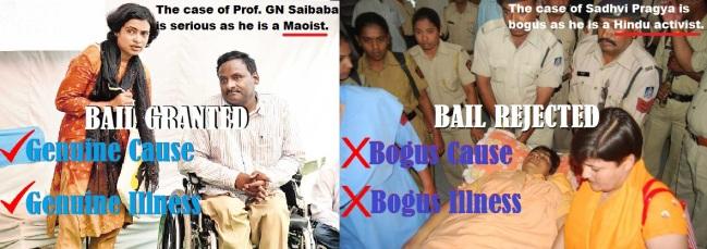 GN Saibaba ans Sadvi Pragya
