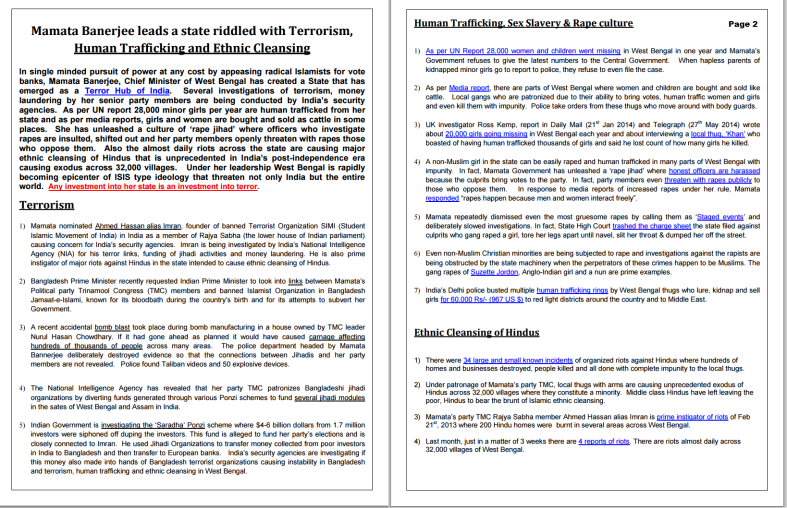Pamphlet with summary of charges against Mamata Banerjee