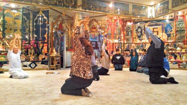 Celebrating International Yoga Day at a temple in Punta Arenas. (Photos: Saaz Aggarwal)