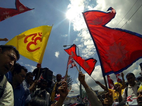 Various Hindu communities and supporters gathers at Maitighar Mandala, Kathmandu on Monday as a part of their protest and demands to declare Nepal as a Hindu State in the New Constitution. Photo: RSS