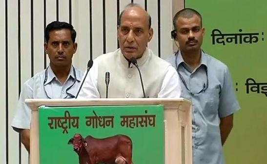 Union Home Minister Rajnath Singh said that even Mughals were aware that they could not rule India with open support to cow slaughter. Pic. NDTV.
