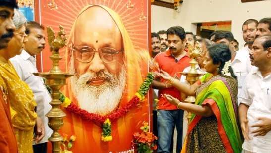 Floral tribute offered to Swami Dayananda by BJP State president Tamilisai Soundararajan at the party headquarters in Chennai, on Thursday | D Sampath Kumar | EPS