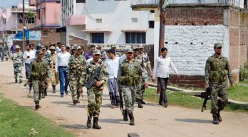 Police patrolling the area after prohibitory orders have been issued in Ranchi due to communal situation after beef throwing in a Hindu Temple..