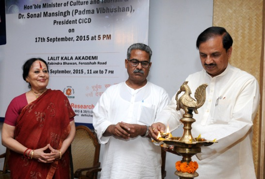 "The Minister of State for Culture (Independent Charge), Tourism (Independent Charge) and Civil Aviation, Dr. Mahesh Sharma and the President, CICD, Dr. Sonal Mansingh jointly inaugurating the Unique Exhibition on ""Cultural Continuity from Rigveda to Robotics"", in New Delhi on September 17, 2015."