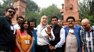 Film star Anupam Kher with Madhur Bhandker and others after meet Rastrapati Pranab mukherjee at RP Bhawan in new Delhi on Saturday. (Source: Express photo by Prem Nath Pandey)