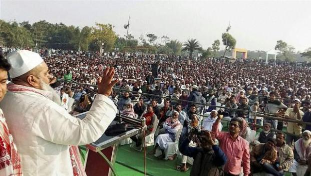 All India United Democratic Front (AIUDF) chief Maulana Badruddin Ajmal addresses a rally at Rangia, Assam. Pic Courtesy: PTI.