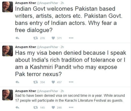 Visa of Kher denied by Pak