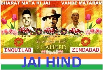 Bharat Mata Ki Jai. Amar Shaeed Zindavad.