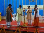 From left – Shri. Gangadhar Kulkarni, 'Pujya' Satyawan Kadam (lighting lamp), Shri. Ramesh Shinde and advocate Shri. Amrutesh