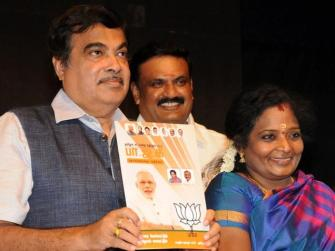 Union Minister Nitin Gadkari releasing the BJP's manifesto for Tamil Nadu last week. Pic Bijoy Ghosh.