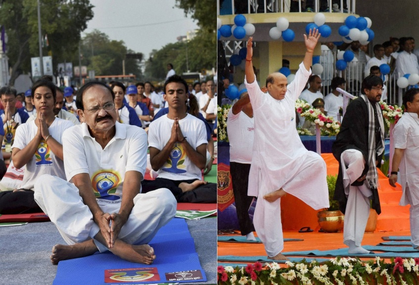 Two Central Ministers practiciing Yog