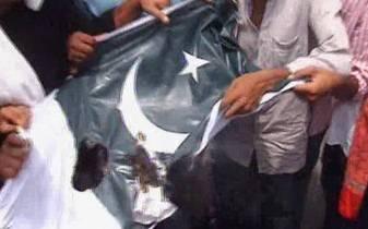 Pakistan Flag burnt in Patna