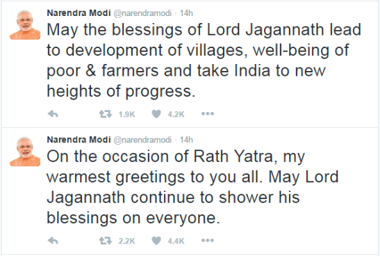 PM Modi Wishes for Ratha Yatra