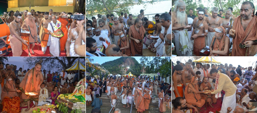 Sadguru Shankara Jayendra Mahaswamigal at Krishna Pushkaram this year.
