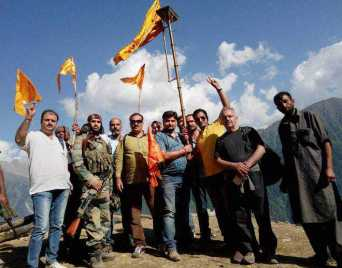 A group of Pandits at the Harmukh range during conclusion of the Gangbal yatra on Monday. PTI