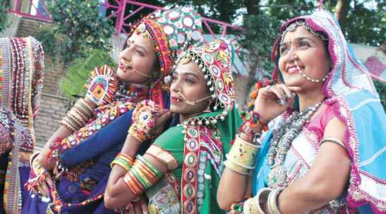 Women practise garba ahead of the Navratri festival in Ahmedabad Tuesday. (Express Photo by Javed Raja)
