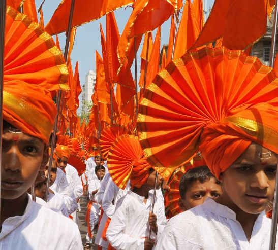 "Huge procession of the New Year of Hindu calendar Auspicious day "" Gudi Padwa "" with traditionally dressed men and Beauties rides bikes in the at Girguam in Mumbai on Monday ."