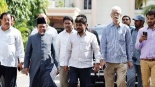 Delegation of AIMIM coming out from the DGP office after discussing harassment of livestock traders by State police, in Hyderabad on Thursday | Express photo.