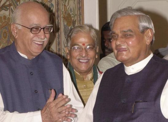 L K Advani, Murli Manohar Joshi and Atal Bihari Vajpayee, nationalist Hindu leaders In New Delhi, India.
