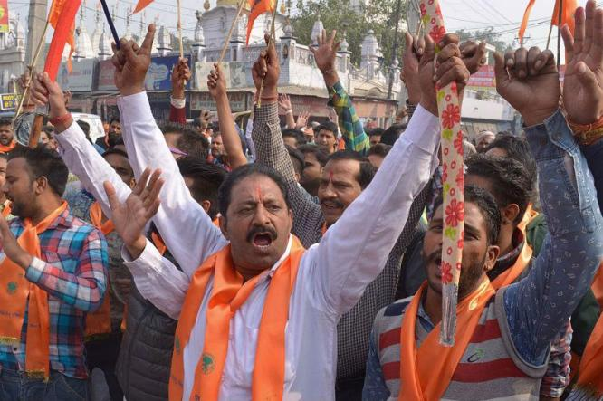 Bajrang Dal and VHP activists raise slogans in favour of a Ram Temple in Ayodhya on December 6, 2015, the 23rd anniversary of the demolition of the Babri Masjid. (FILE PHOTO: GETTY IMAGES)