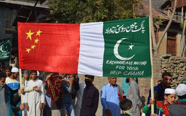 Chinese flags now mark presence in Kashmir valley with its Jihadi counterpart Pakistan.