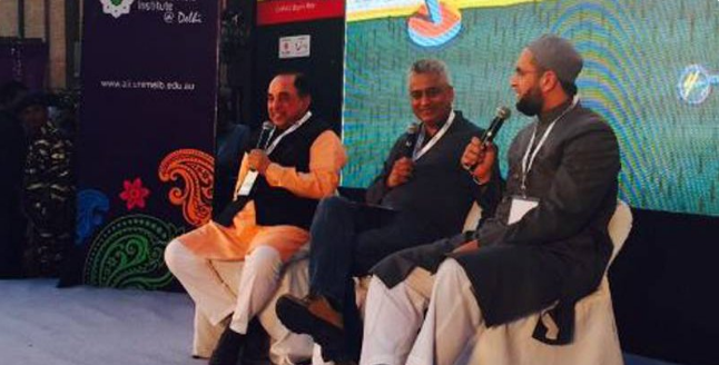 dr-swamy-and-asaduddin-owaisi-in-times-litfest-in-delhi